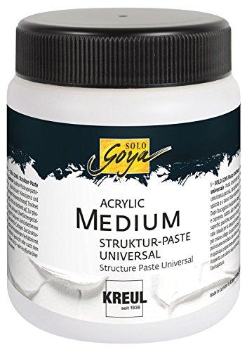 Kreul 85905 - Solo Goya Acrylic Medium, Strukturpaste Universal, pastose Spachtelmasse, einfärb- und übermalbar, trocknet matt und deckend auf, 250 ml Dose, weiß