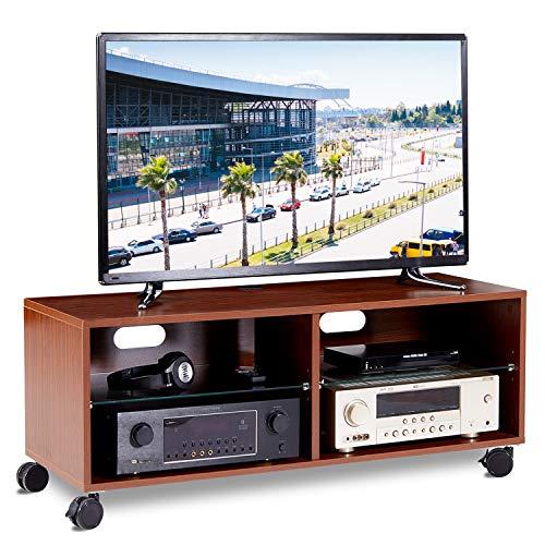 RFIVER TV Tisch Breite 110 cm Wagen Fernsehtisch Fernsehschrank Lowboard Board mit Rollen Rollbar Möbel Holz Nussbaum TS5002