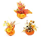 GREENWISH 6inch 3PCS Artificial Pumpkins Gourd, Berry and Maple Fall Leaves Pine Cones Arrangement for Table Home Decor for House Prop Autumn Fall Harvest Thanksgiving Decoration