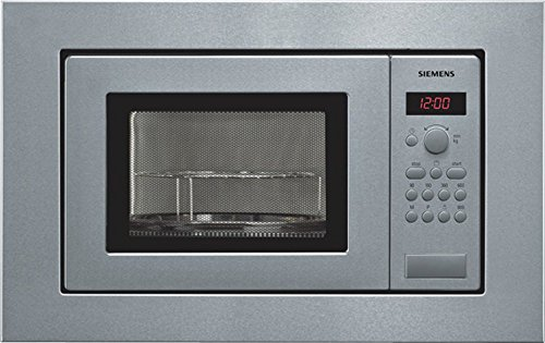 Siemens HF15G561 iQ100 - Microondas integrable, 38 cm, Marco 60 cm, 17L, 800W, Grill 1000W, Color negro y acero inoxidable
