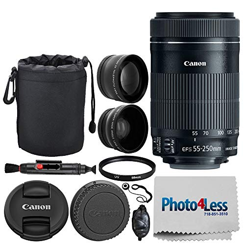 """Canon EF-S 55-250mm F4-5.6 is STM Lens for Canon SLR Cameras + 58mm 2X Professional Telephoto & High Definition 58mm Wide Angle Lens + UV Filter + 6"""" Lens Pouch + Cleaning Pen – Full Accessory Bundle"""