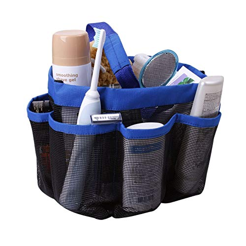 Houseables Mesh Shower Caddy, Blue, 8 Pocket, College Dorm, Quick Dry, Portable, Rustproof, Bath Tote Large, Bathroom Toiletries Organizer with Hanging Handle