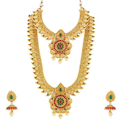 Crunchy Fashion Bollywood Style Gold Plated Traditional Indian Jewelry Necklace Set with Earrings & Tika for Women/Girls (Style-3)