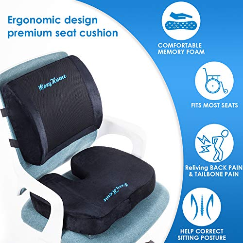 Coccyx Seat Cushion and Lumbar Support Pillow for Office Desk Chair Memory Foam Car Seat Cushion & Orthopedic Back Pillow for Sitting Help Tailbone Pain, Sciatica and Pressure Relief, Washable Cover