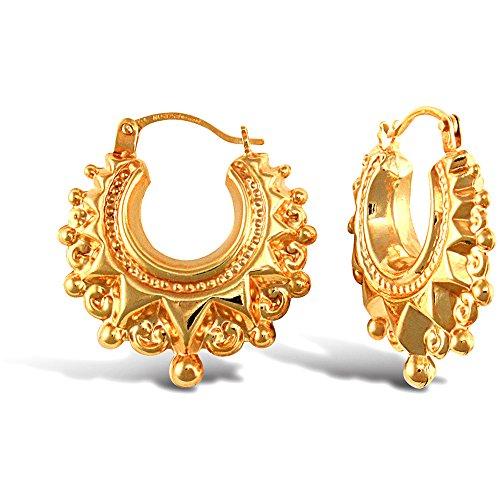 Jewelco London Ladies 9ct Yellow Gold Victorian Spike Hoop Creole Earrings