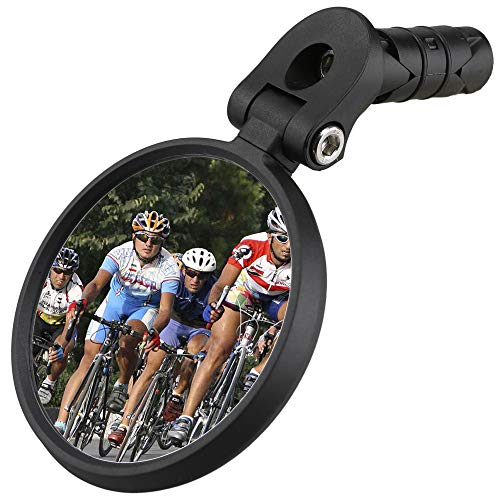 Venzo Bicycle Bike Accessories Handlebar End Mount Mirror Silver Lens 50% Anti-Glare Glass - Great for Road or Mountain Rear View Left