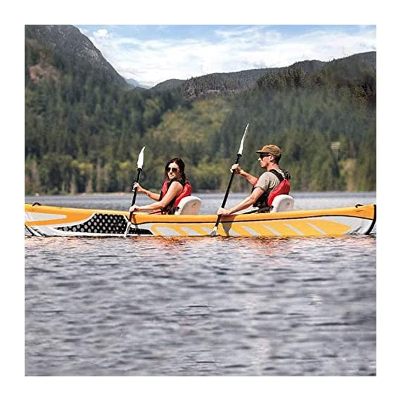 JNWEIYU Double Canoe Kayak, High-end Inflatable Boat, Brushed Material,2-Person Inflatable Kayak Set with Aluminum Oars… 5 Inflated size:Single 325 X 72cm , Double 425 x 78cm. Includes a high-output pump and aluminium oars. Capacity person maximum weight 120kg/200kg.