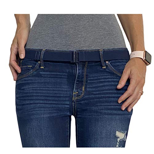 Tights Up: Cinturón elástico ajustable. Hebilla plana. Antideslizante (Azul Marino)