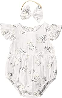 2PCS Toddler Kids Baby Girl Floral Jumpsuit Summer Sleeveless Bodysuit Sunsuit Outfits Clothes Headband (Kid Size : 18M)