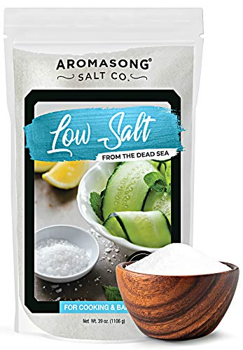 AROMASONG Diamond LOW SODIUM Sea salt, 68% Less Sodium, Bulk 2.43 LB Bag, Fine Grain, Combination of Dead sea potassium chloride & Dead sea salt Used as Table salt Substitute for Low Sodium Diet.