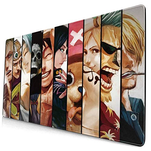 One Piece Anime Gaming Mouse Pad,Anime Cartoon One Piece Design Mouse Mat,Non-Slip Rubber Base Mousepad,Waterproof Office Mouse Pad(15.8x29.5 in)