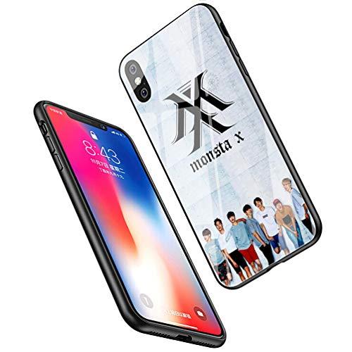 LiangChu Vetro temperato 9H iPhone 7 Plus/8 Plus Cases, LC-147 MONSTAX Monsta X KPOP Design Stampa Antiurto Anti-Scratch Morbido Silicone Cover in TPU Cassa del Telefono for iPhone 7 Plus/8 Plus