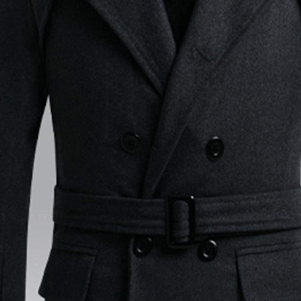 MODOQO Men's Wool Blend Trench Coat Slim Fit Overcoat Outwear Jacket with Belt