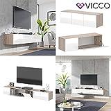 Vicco TV Board Cumulus hängend Wohnwand Fernsehschrank Lowboard Hochglanz (Sonoma/Weiß Hochglanz, 240er) - 8