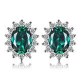 Jewelrypalace Princess Diana William Kate Middleton's 1.1ct Sintetico Russo Nano Smeraldo Stud Orecchini 925 Sterling Argento