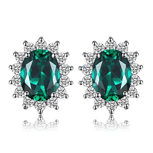 JewelryPalace 2.5ct Prinzessin Diana Grün Simulierte Nano Russischen Smaragd Ohrringe Ohrstecker 925 Sterling Silber Damen Geschenk