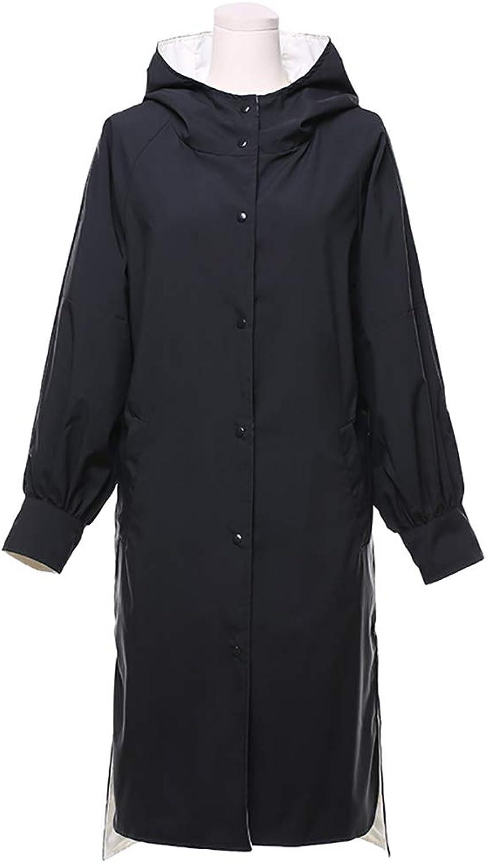 Women's Windbreaker Jacket, Spring and Autumn Single-Breasted Slim Long-Sleeved Hooded Long Women's Coat