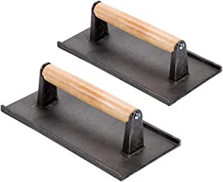 (Set of 2) Cast Iron Steak Weight/Bacon Press with Wooden Handle, 8 x 4-Inch Heavy-Weight Grill Press by Tezzorio, Commercial Grade Burger/Panini Weight Press