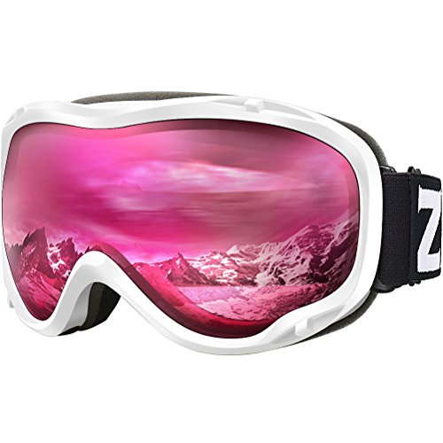 ZIONOR Lagopus Ski Snowboard Goggles UV Protection Anti Fog Snow Goggles for Men Women Youth VLT 46% White Frame Clear Rose Lens