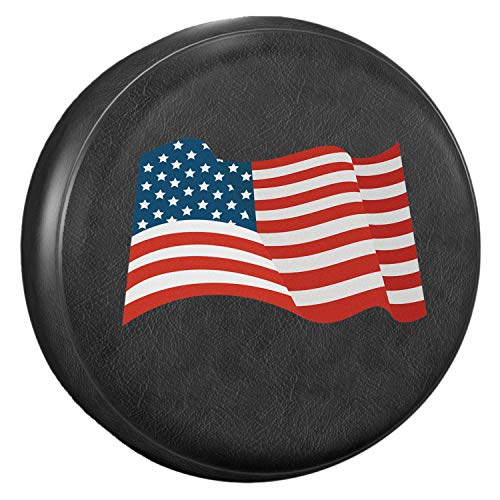 """AmFor Spare Tire Cover, Universal Fit for Jeep, Trailer, RV, SUV, Truck and Many Vehicle, Wheel Diameter 32"""" - 33"""",Weatherproof Tire Protectors (National Flag)"""