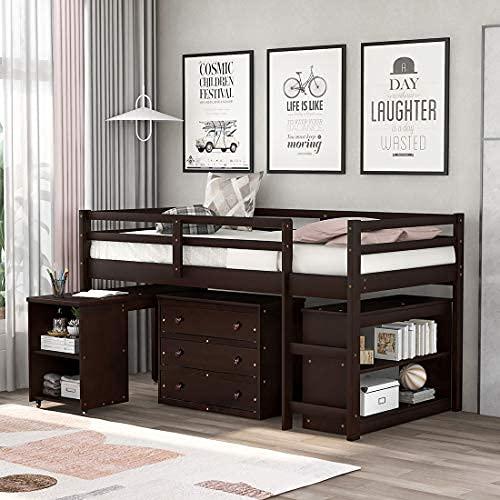 Bajo estudio Twin Loft Cama con el escritorio portátil rodante, cama de loft Twin con gabinete y estantes de almacenamiento, cama de madera de pino sólido ...