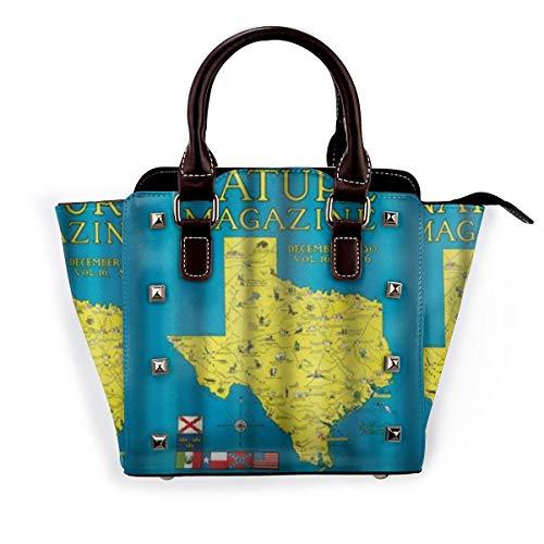 BROWCIN Nature Magazine - Detaillierte Karte des Bundesstaates Texas mit malerischen Sehenswürdigkeiten Abnehmbare mode trend damen handtasche umhängetasche umhängetasche