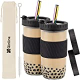 Reusable Boba Cup Bubble Tea Cup 2 Pack, 24Oz Wide Mouth Smoothie Cups with Lid, Silicone Sleeve & Angled Wide Straws, Leakproof Glass Mason Jars Drinking Water Bottle Travel Tumbler for Large Pearl