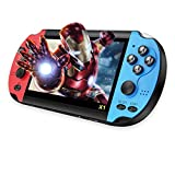 HUADEYI Handheld Game Console 4.3inch HD Screen,Portable Retro Game Console,Free 3000 Games Equipped with Dual Joystick Buttons- Black (Red)