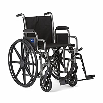 """Medline Strong and Sturdy Wheelchair with Desk-Length Arms and Swing-Away Leg Rests for Easy Transfers, 16"""" Seat"""