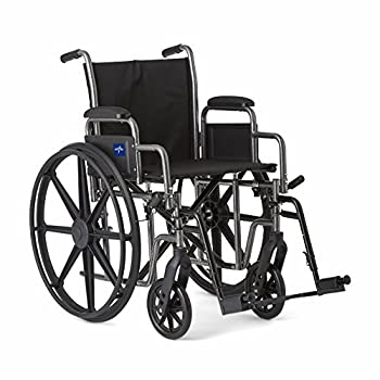 """Medline Strong and Sturdy Wheelchair with Desk-Length Arms and Swing-Away Leg Rests for Easy Transfers 18"""" Seat"""
