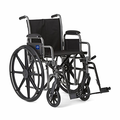 Medline Strong and Sturdy Wheelchair with Desk-Length Arms and Swing-Away Leg Rests for Easy Transfers, 20 Seat