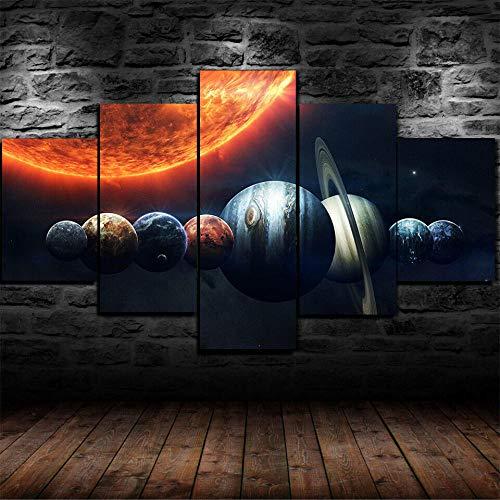 45Tdfc 5 Piezas Impresiones sobre Lienzo Modular DecoracióN PóSter Cuadro Planetas espaciales del Sistema Solar,Talla:150 * 80Cm HabitacióN Sala HogareñA