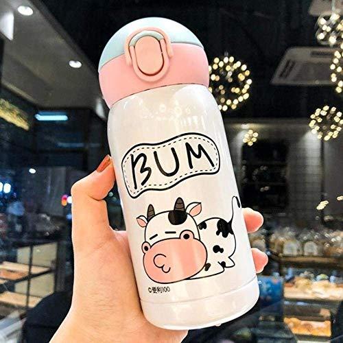 BECCYYLY 200 / 300ml Vaca Acero Inoxidable matraz de vacío Taza de Paja Taza Taza Taza de Dibujos Animados Botella de Agua aislada Taza de Termo, 300 ml, 200-300ml wmpa