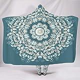 BTJC88 Couverture Chauve-Souris Bleu Sarcelle Imprimé Mandala, Polaire, Blanc, 150x101cm