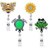 4 Pieces Rhinestone Badge Reel Crystal Nurse Retractable Badge Holder...