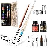 Juego de caligrafía Hethrone Juego de bolígrafo para madera y bolígrafo de vidrio con 6 puntas y 5 botellas de tinta