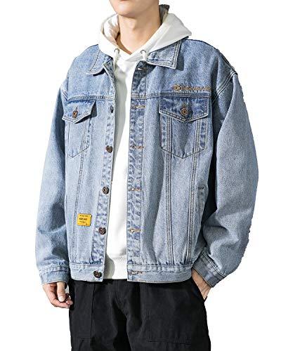 PRIJOUHE Men's Classic Denim Trucker Jacket Casual Washed Loose Long Sleeve Button Down Jean Jacket Coat Outwear