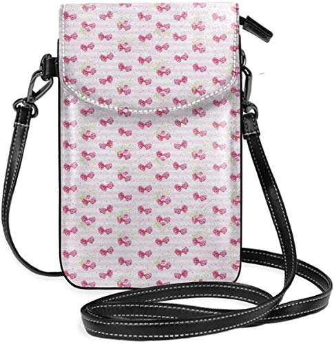 Trista Bauer Femmes Petit téléphone Portable Sac à Main bandoulière, Noeuds Papillon Roses sur Fond de Lignes de Couleur Pastel Amour Saint Valentin