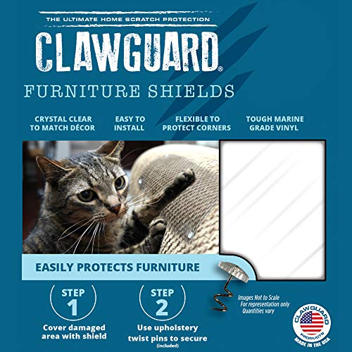 CLAWGUARD Marine Grade Furniture Shields The Ultimate Clear Cat Scratch Pads to Protect & Cover Couch/Sofa/Chair/Upholstery, Crystal Clear