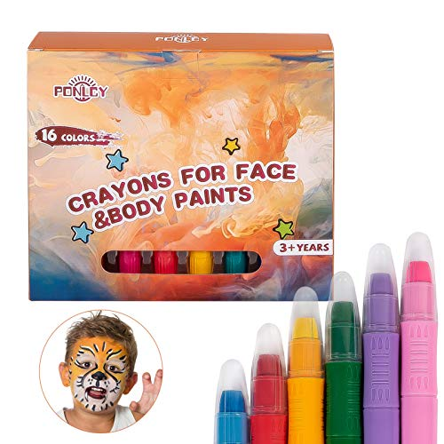 PONLCY Face Paint Crayons Kit, 16 Colors Washable Face & Body Paint Sticks for Children Birthday Party Cosplay Makeup with Stencils