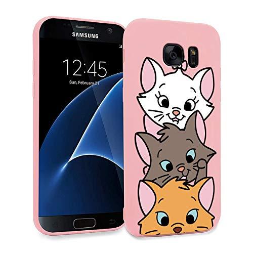 ZhuoFan Funda Samsung Galaxy S7 Edge, Cárcasa Silicona Rosa con Dibujos Diseño Suave Gel TPU Antigolpes de Protector Piel Case Cover Bumper Fundas para Movil Samsung Galaxy S7Edge, 3 Gato