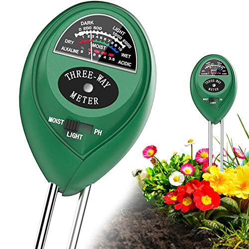 Shaboo Prints Soil PH Meter, 3-in-1 Soil Tester with Moisture, Light and PH Soil Test Kit for Plant Care, Soil Hygrometer Water Monitor, Promote Plants Healthy Growth