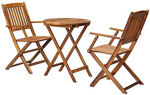 Moderno, elegante mobiliario de jardín de madera de Acacia Bistro fijado mesa plegable redonda y dos sillas plegables,Brown