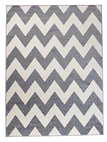 We Love Rugs - Carpeto Moderner Designer Teppich Zick-Zack Geometrisches Muster - Flor Modern Designer Muster - Wohnzimmer Schlafzimmer Esszimmer - Grau Weiß - 200 x 290 cm