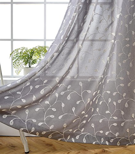 Miuco Floral Embroidered Semi Sheer Curtains Faux Linen Grommet Curtain Panels Bedroom 52 x 95 Inch 2 Panels, Grey