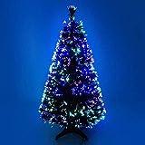 JLKDF Árbol de Navidad Artificial de Fibra óptica Verde de 3 pies para Interiores con LED Multicolor 3 pies (90 cm)