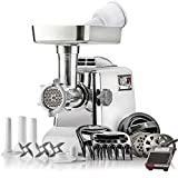 STX Megaforce - Platinum Edition -'Patented Air Cooled' Electric Meat Grinder w/Foot Pedal & Sausage Stuffer - 4 Grinding Plates, 3 S/S Blades, 3 Sausage Tubes, Kubbe Maker, Meat Claws & Burger Press