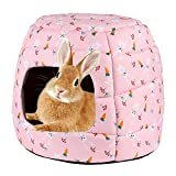YUEPET Large Rabbit Bed House Foldable Winter Warm Bunny Hideout Cave for Guinea Pig Hamster Squirrel Ferret Hedgehog Chinchilla Cozy Cage Accessories