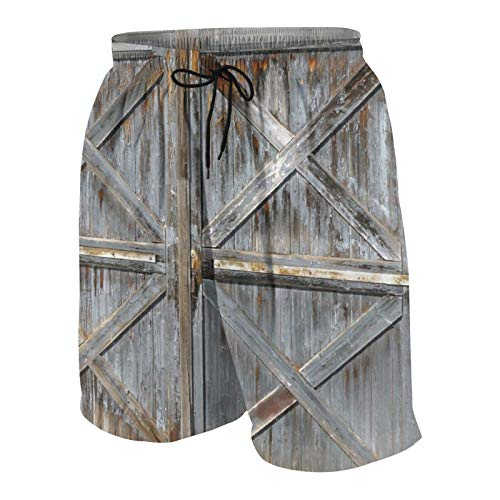 Hombres Personalizado Trajes de Baño,Decoración occidental, estilo americano de Texas, música country, guitarra, botas de vaquero, cultura popular de EE. UU.,Casual Ropa de Playa Pantalones Co