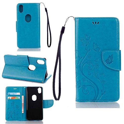 pinlu Funda para BQ Aquaris X5 Plus (5 Pulgada) Función de Plegado Flip Wallet Case Cover Carcasa Piel PU Billetera Soporte con Ranuras Mariposa Flores Azul